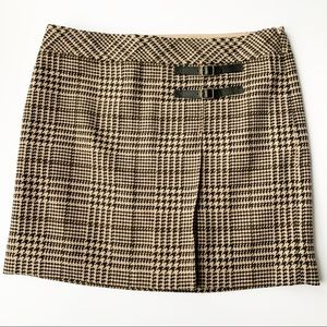 Loft Tan Houndstooth Wool Mini Skirt 10